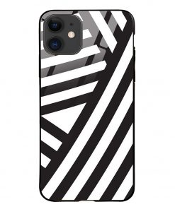 Cross Stripes iPhone 12 Glass Case Cover