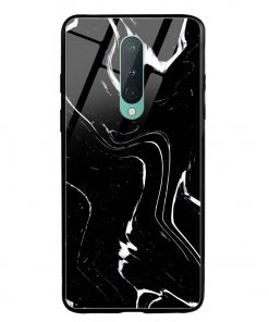 Black Marble Oneplus 8 Glass Case Cover