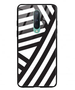 Cross Stripes Oneplus 8 Glass Case Cover
