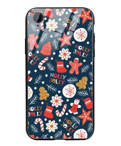 Holly Jolly iPhone XR Glass Case Cover