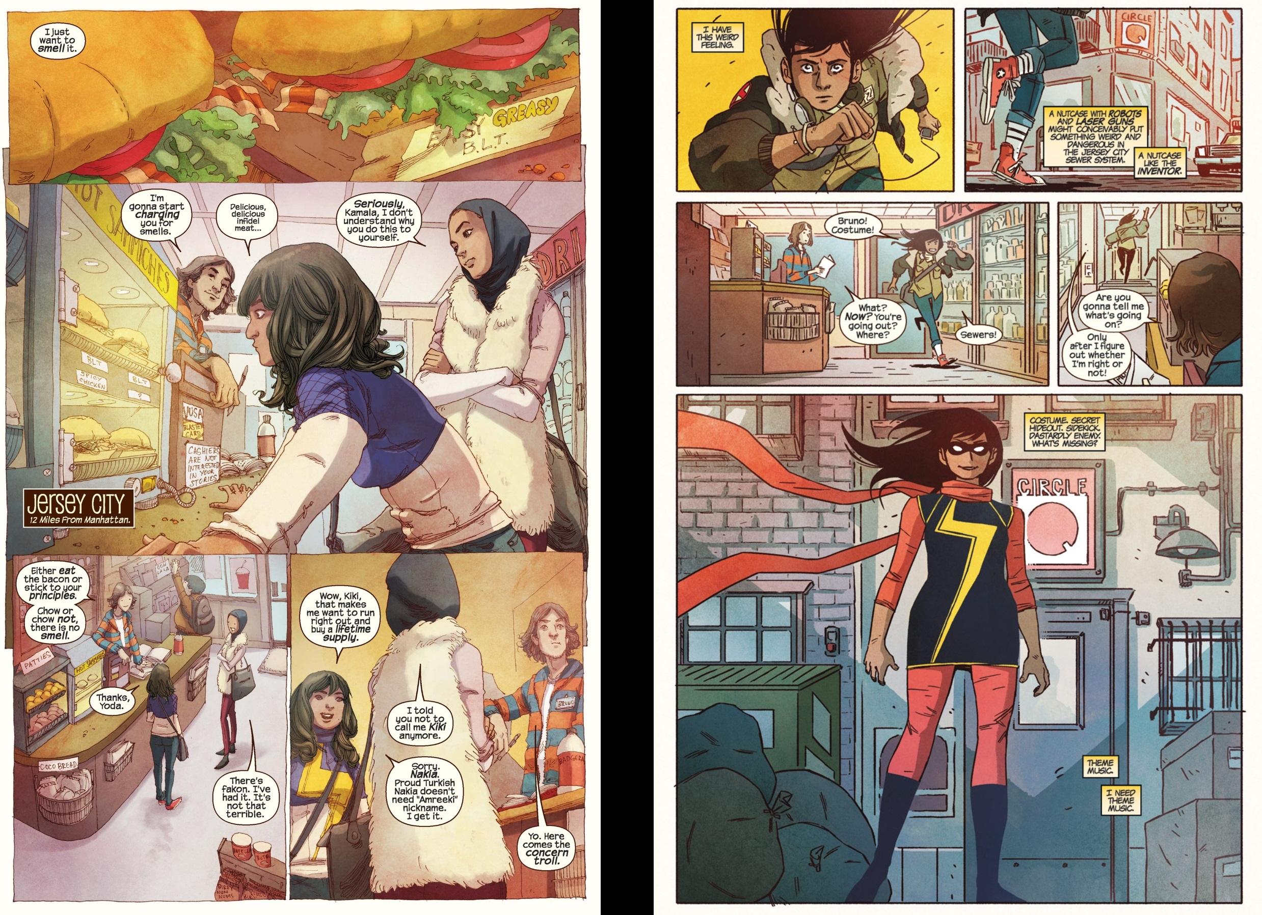 Páginas del cómic de Ms. Marvel, en inglés.
