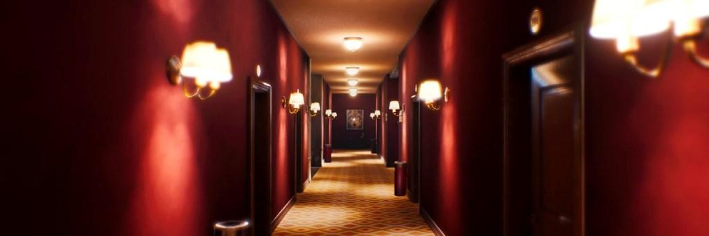 Pasillo de hotel que recuerda al Hotel Overlook de la película El Resplandor