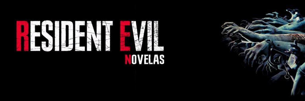 Texto de Resident Evil Novelas en la parte izquierda, ocupando dos tercios. En el tercio derecho un conjunto de manos de zombies