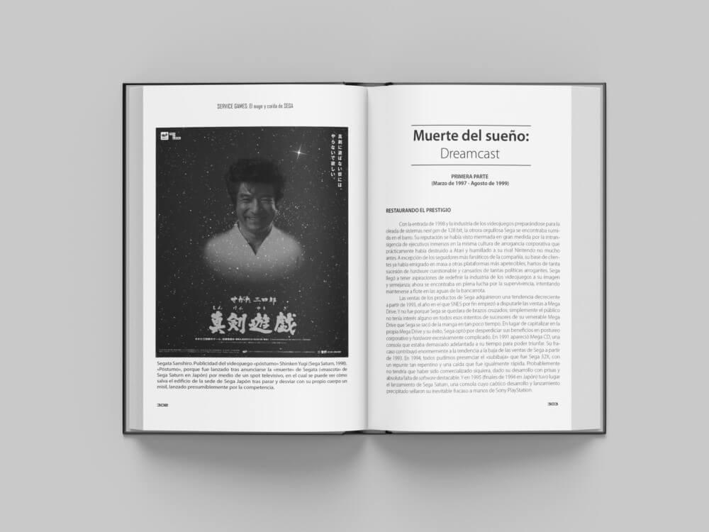 Página doble de un libro. Cartel en la parte izquierda, en la derecha, texto