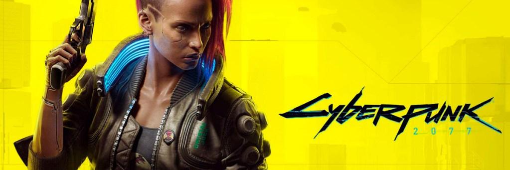 """Imagen promocional. Fondo amarillo, con letras que ponen """"Cyberpunk 2077"""", y el personaje femenino"""