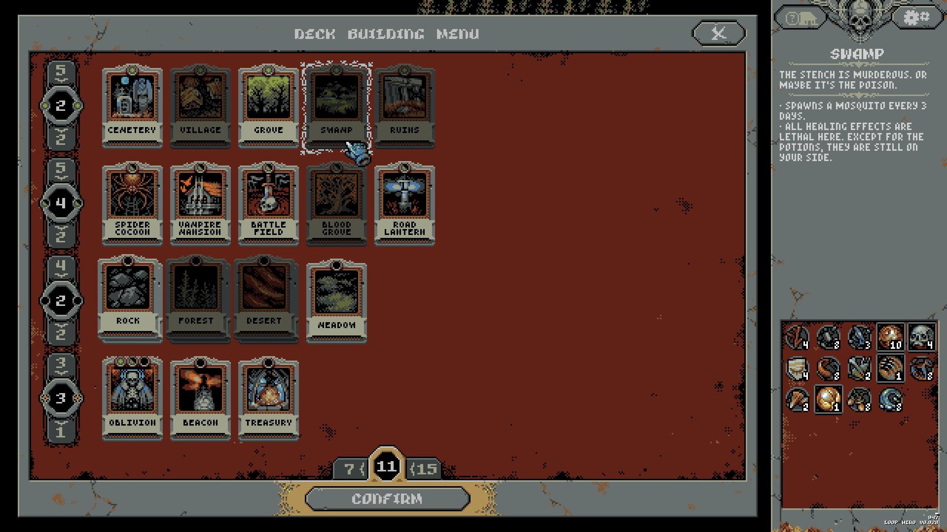 Imagen con distintas cartas de Loop Hero