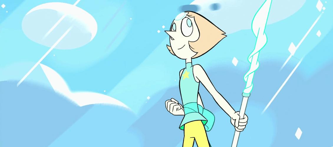 Pearl de Steven Universe sosteniendo una lanza