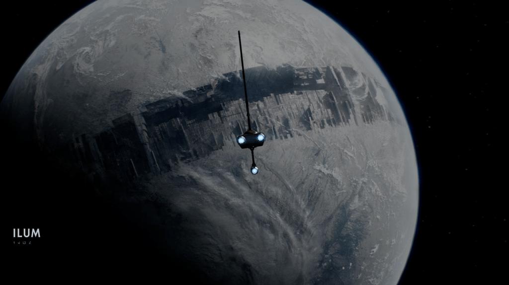 Nave acercándose a un planeta