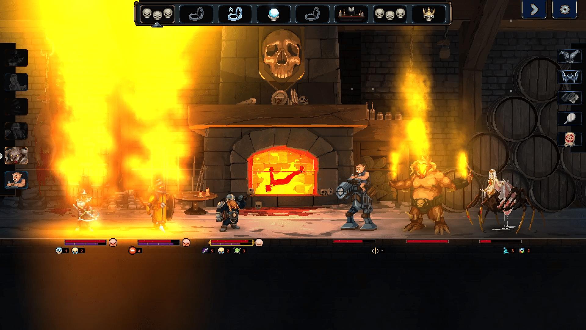 Combate de Legends of Keepers en una mazmorra de fuego.