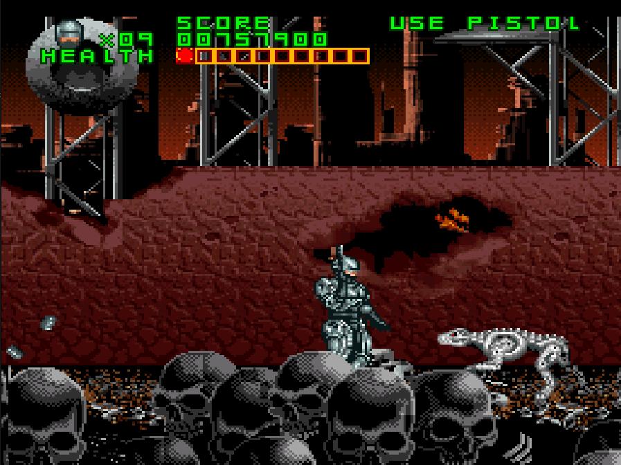 Pantalla de Super Nintendo. Robocop está en un paraje postapocalíptico cubierto de calaveras. Un perro robótico se dirige hacia él.