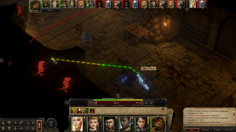 Pantalla de enfrentamiento, en la parte superior del mapa se refleja el orden de turnos. En este turno se marca el rango de movilidad del personaje.
