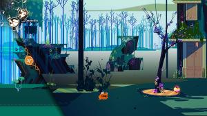 Imagen del videojuego Cris Tales, aparece un bosque en el futuro. En el centro, el personaje Matias, una rana amarilla