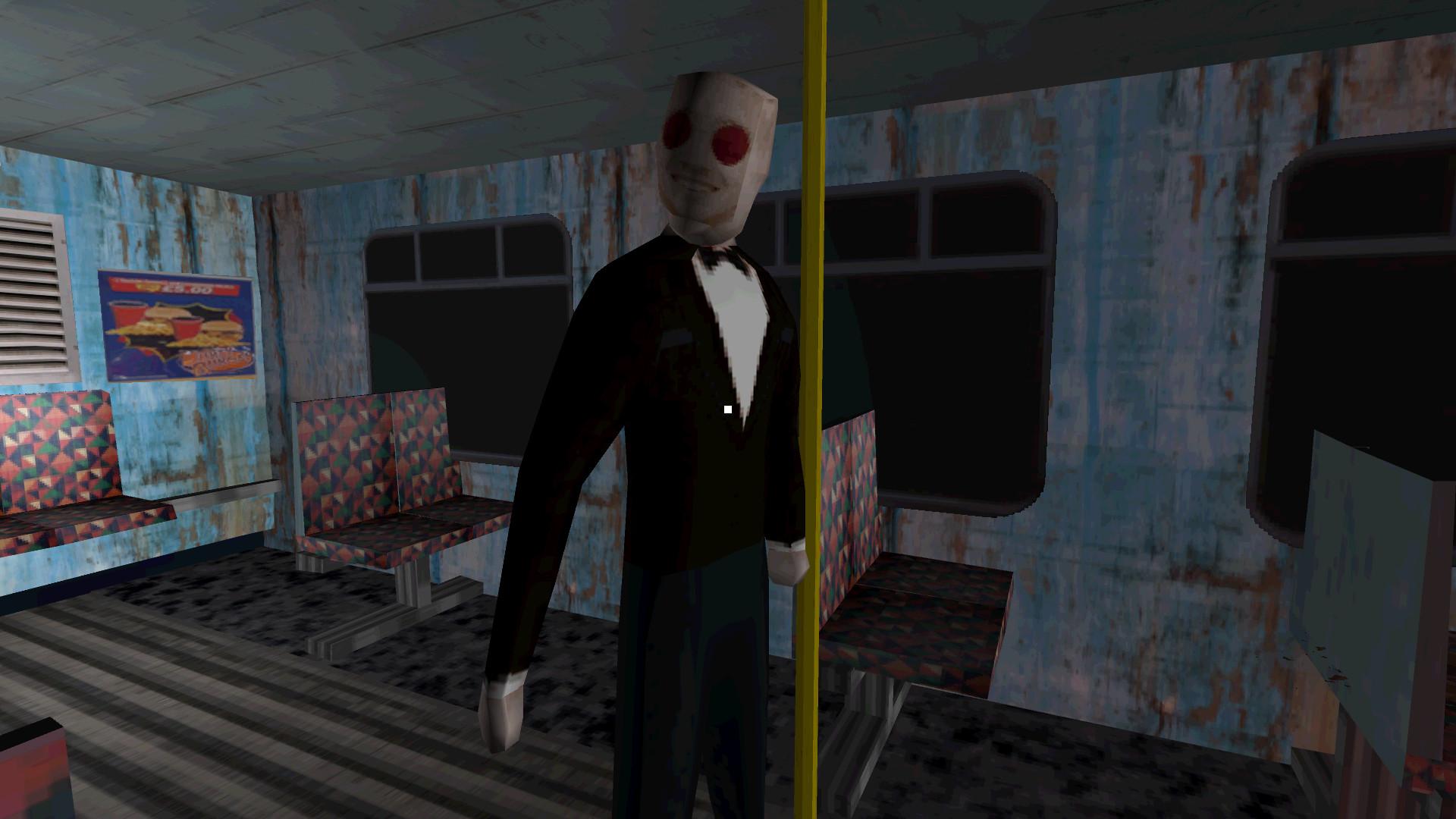 Pantallazo low-poly. Un personaje con gafas de sol rojas, traje y pajarita nos mira sonriendo. Está de pie, agarrado a la barra en un autobús por lo demás vacío..