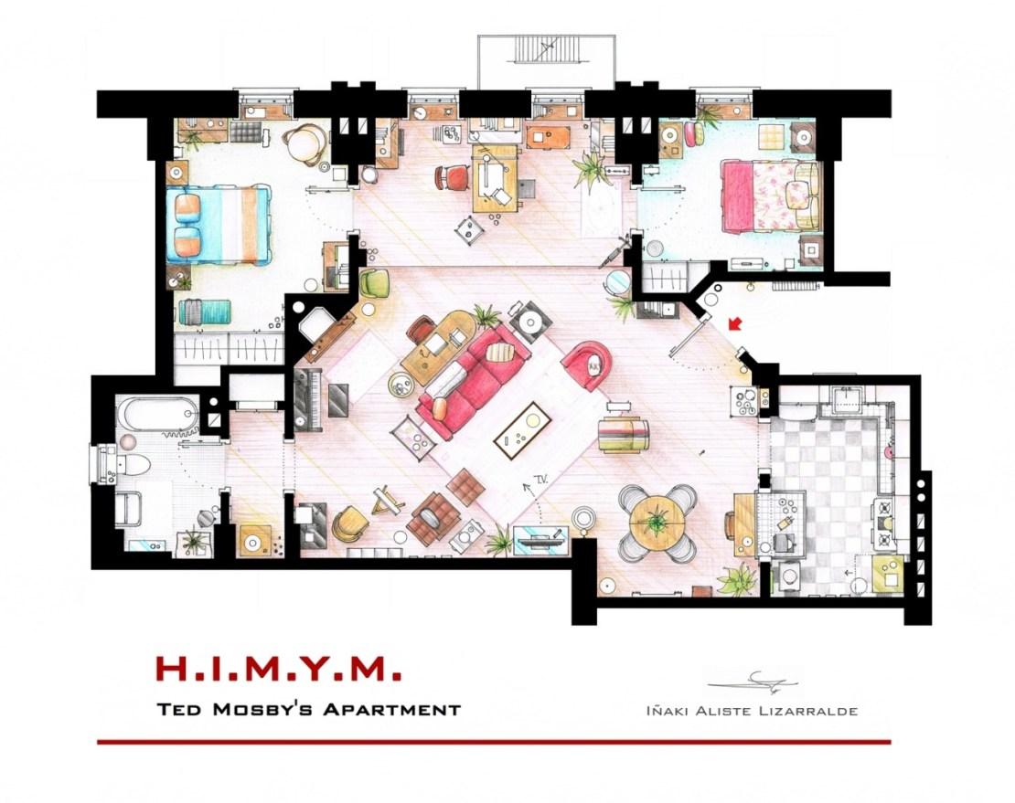 Plano de la casa de Ted Mosby en Cómo conocí a vuestra madre