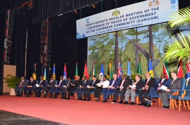 CARICOM Heads of Government and Secretary-General at the opening ceremony of the 37th Regular Meeting of the Conference of Heads of Government