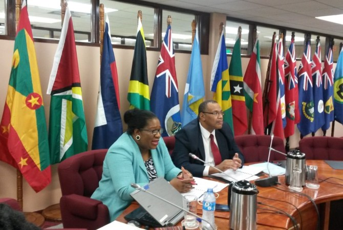 FLASHBACK: CARICOM DeputyProgramme Manager, ICT4D, Ms. Jennifer Britton, and Assistant Secretary-General, Trade and Economic Integration, Mr. Joseph Cox at one of the preparatory meetings in March, 2017