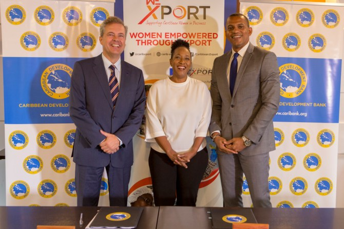 From left: Luis Maia, Head of Cooperation at the EU Delegation to Barbados, the Eastern Caribbean States, the OECS and CARICOM/CARIFORUM; Pamela Coke Hamilton, Executive Director, Caribbean Export and Daniel Best, Director of Projects, CDB