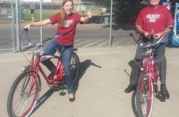 Taylor Herren and President Zingg riding Wildcat Cruisers