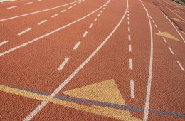 Close-up of the rubber of the Chico State track