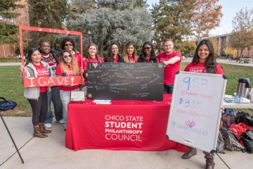 Student ambassadors on the Student Philanthropy Council pose for a group photo.
