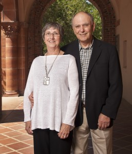 Robyn and Mike Prime photographed together in the beautiful arch ways of Chico States central campus.
