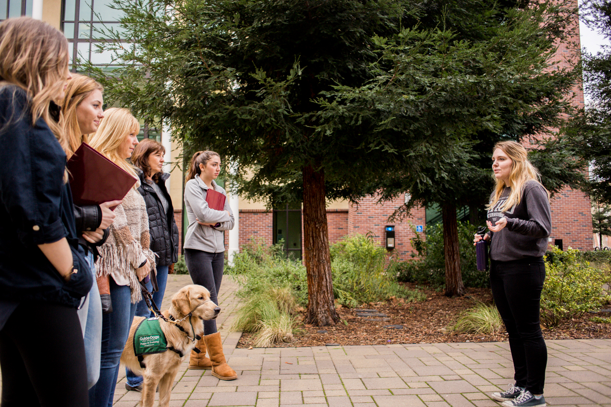 Sarah Wood leads a tour of the Chico Sate campus on January 11.