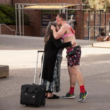 Steven Huff gives free hugs on campus for Valentine's Day on Friday, February 13, 2015 in Chico, Calif. (Cory Hackbarth/Student Photographer)