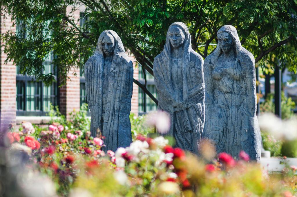 The Three Ladies statue sculpture overlooks the George Peterson Rose Garden at California State University Chico in Chico, Calif. (Sam Rivera/Student Photographer)