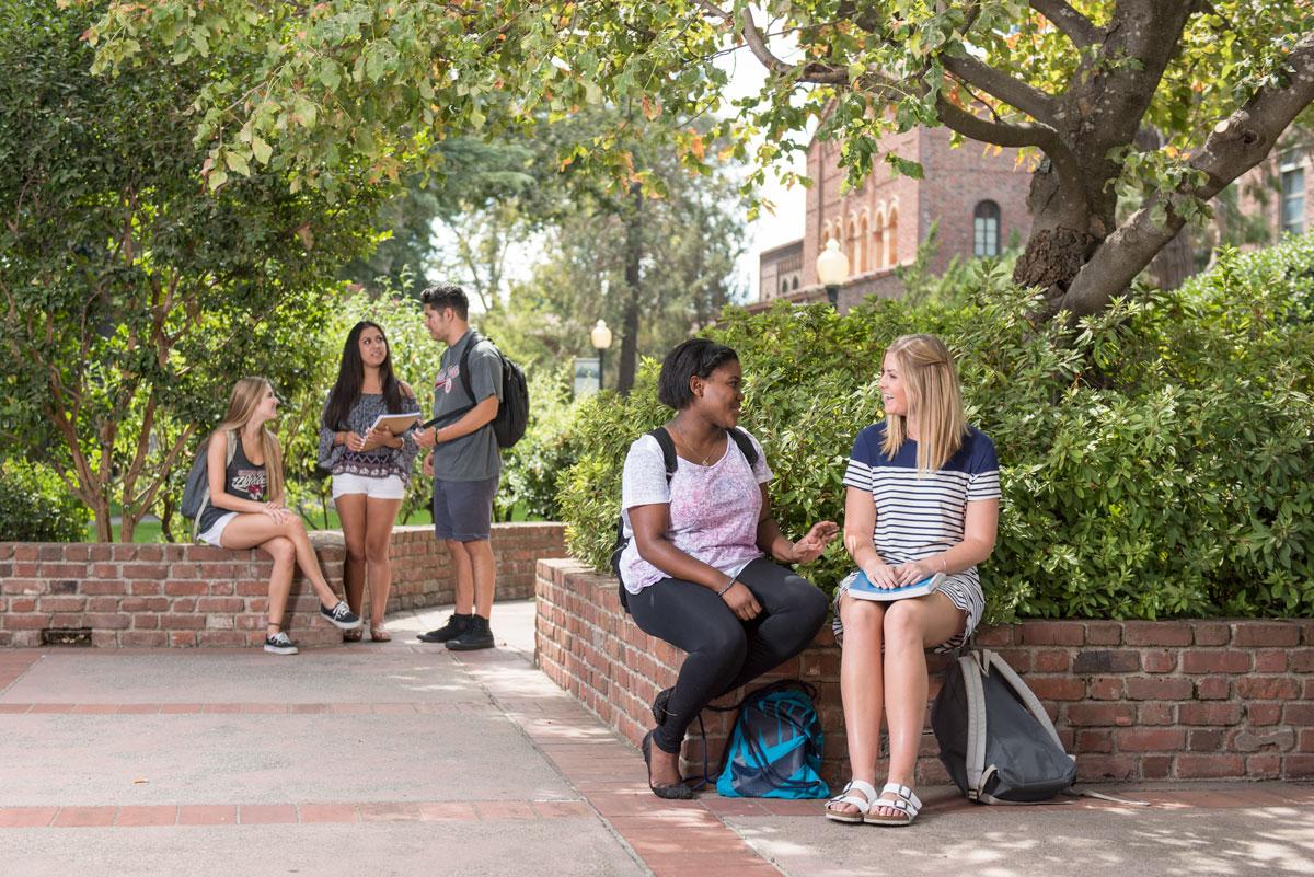 Students outside Laxson Auditorium. (Photo by Jason Halley)