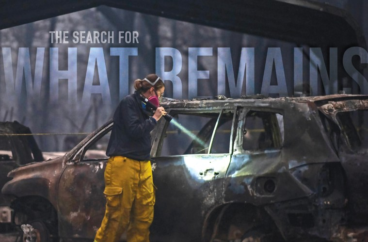 """Karin Wells shines a flashlight into a burnt vehicle enshrouded in darkness from smoke with the text """"The Search for What Remains"""" imposed bove"""