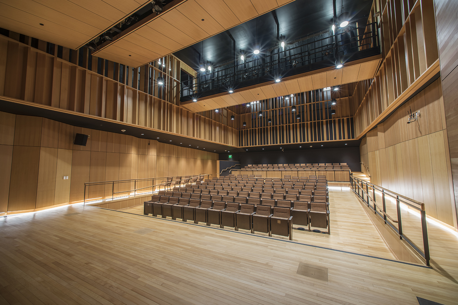 The 196-seat Zingg Recital Hall features variable acoustics thanks to its wood paneling, and connects to a state-of-the-art recording studio.