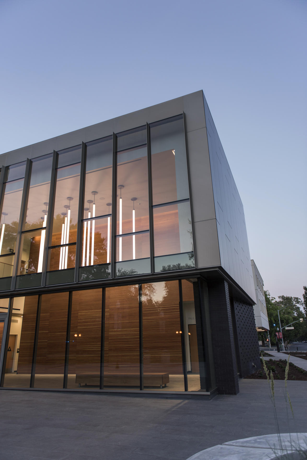 The building features dramatic lighting designed to conserve energy.