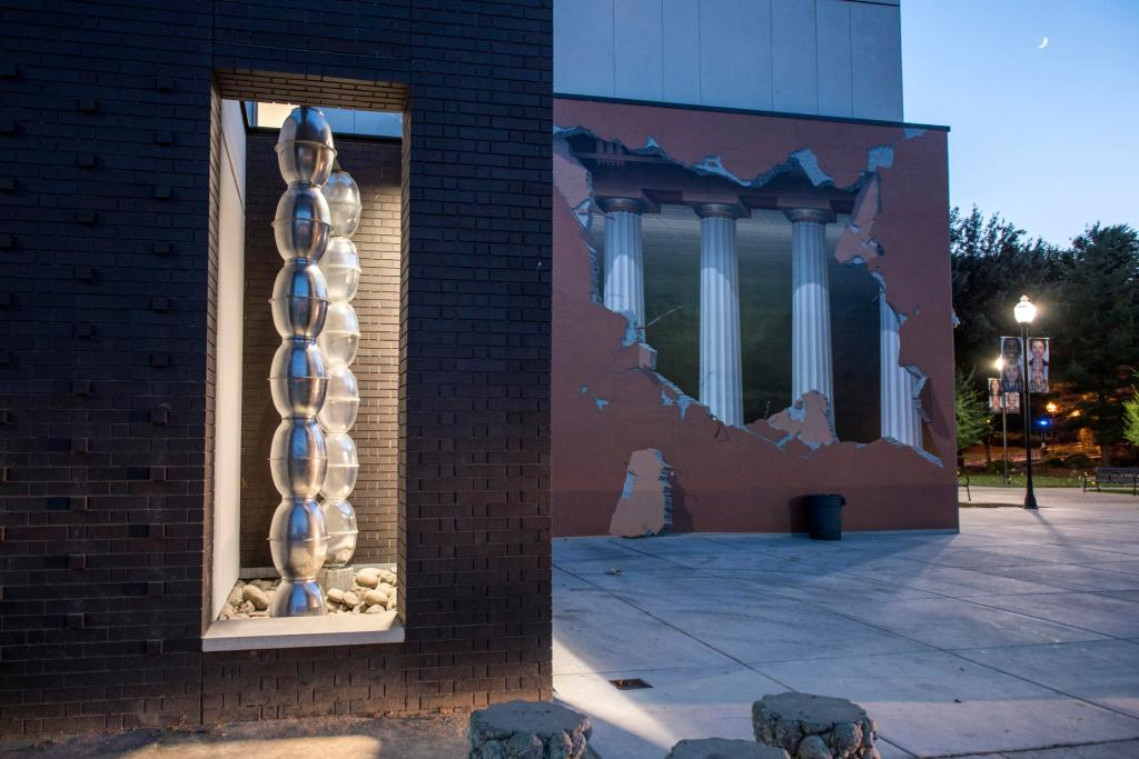 One of the building's public art spaces currently exhibits 'Brancusi Endless Column.'