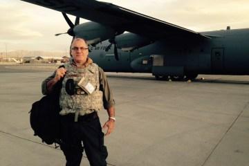 Greg Gangnuss on an airfield in Afghanistan.