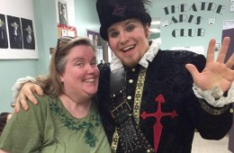 """Katie Whitlock and student cast member Louis Fuentes (right), during the 2015 performance, """"The Rover."""""""