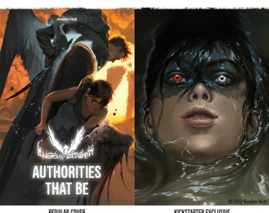 "two painted covers of angels, reading ""Angels Power: Authorities That Be"""
