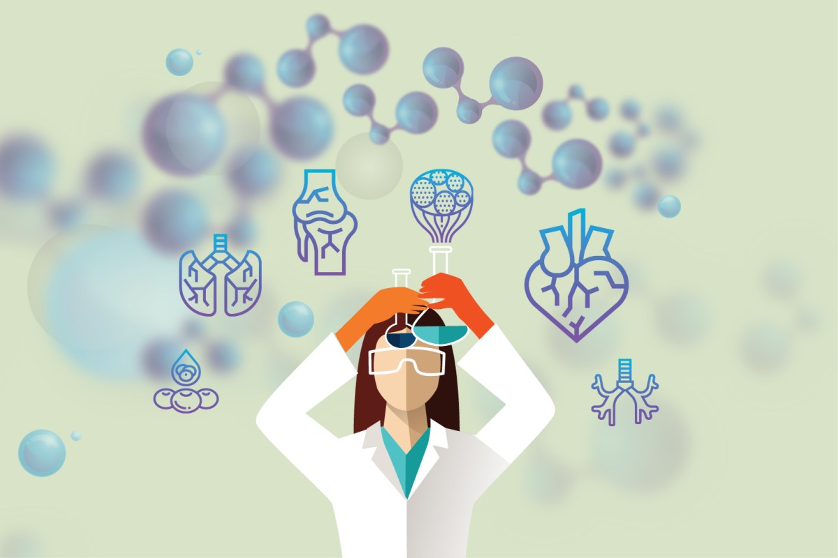 A digital illustration of a woman holding two beakers and conducting an experiment.