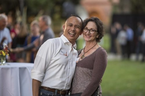 Ben Juliano and Renee Renner pose for a photo on Kendall Lawn.