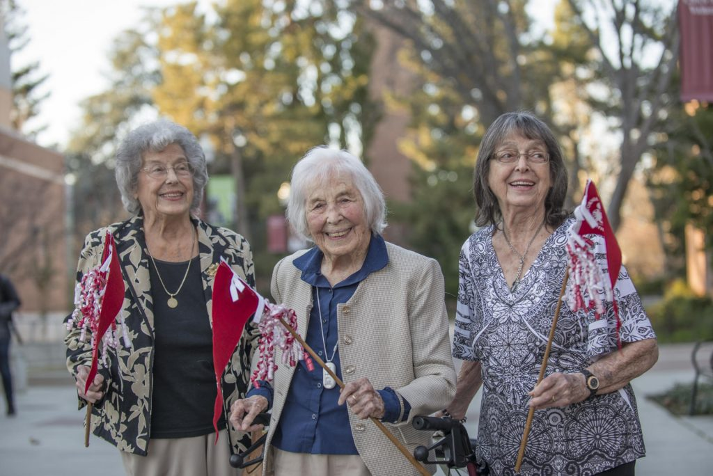 Lynn Balmer pictured at 107 years old with her two sisters Thea (left) and Jeanie (right).