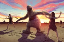 An artist's rendering represents a possible interaction between humans and a giant ground sloth. Professor emeritus P. Willey was provided expertise into findings of prehistoric footprints in White Sands National Monument. in New Mexico.