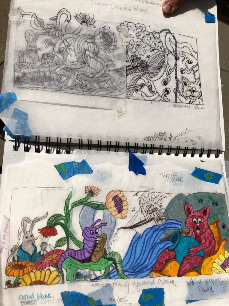 Notebook drawings with flowers, frogs, and a wildcat.
