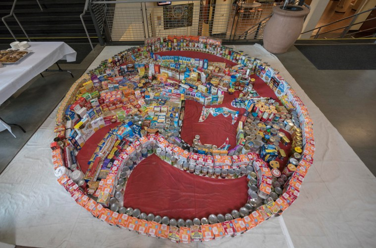 Wildcat logo shaped from donated cans