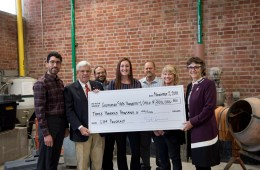 Faculty and staff from Chico State's Concrete Industry Management Program and University President Gayle Hutchinson welcome donor Doug Guerrero as he donates $300,000 to help renovate a concrete lab.