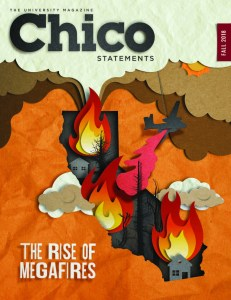 The fall 2018 cover of Chico Statements was a cut-paper-style digital illustration of flames on the state of California.