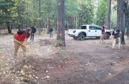 Chico State Cycling Team working to clear Brian Kavenaugh's fire break to mitigate against the Camp Fire.