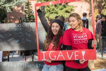 Students from the Chico State Student Philanthropy Council celebrate the University's first 24-hour day of philanthropy in November 2017.