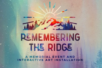 A digital graphic featuring a sun rising over foothills announces the Remembering the Ridge event.