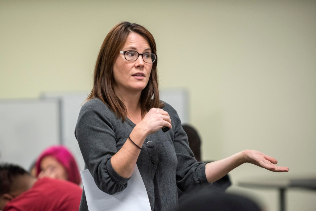 """Ellie Ertle teaches in her """"American Government: National/State/Local"""" (POLS 155) class."""
