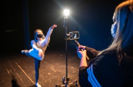Natsumi Kawamura performs a dance routine as Megan Glynn Zollinger films on an iPhone.