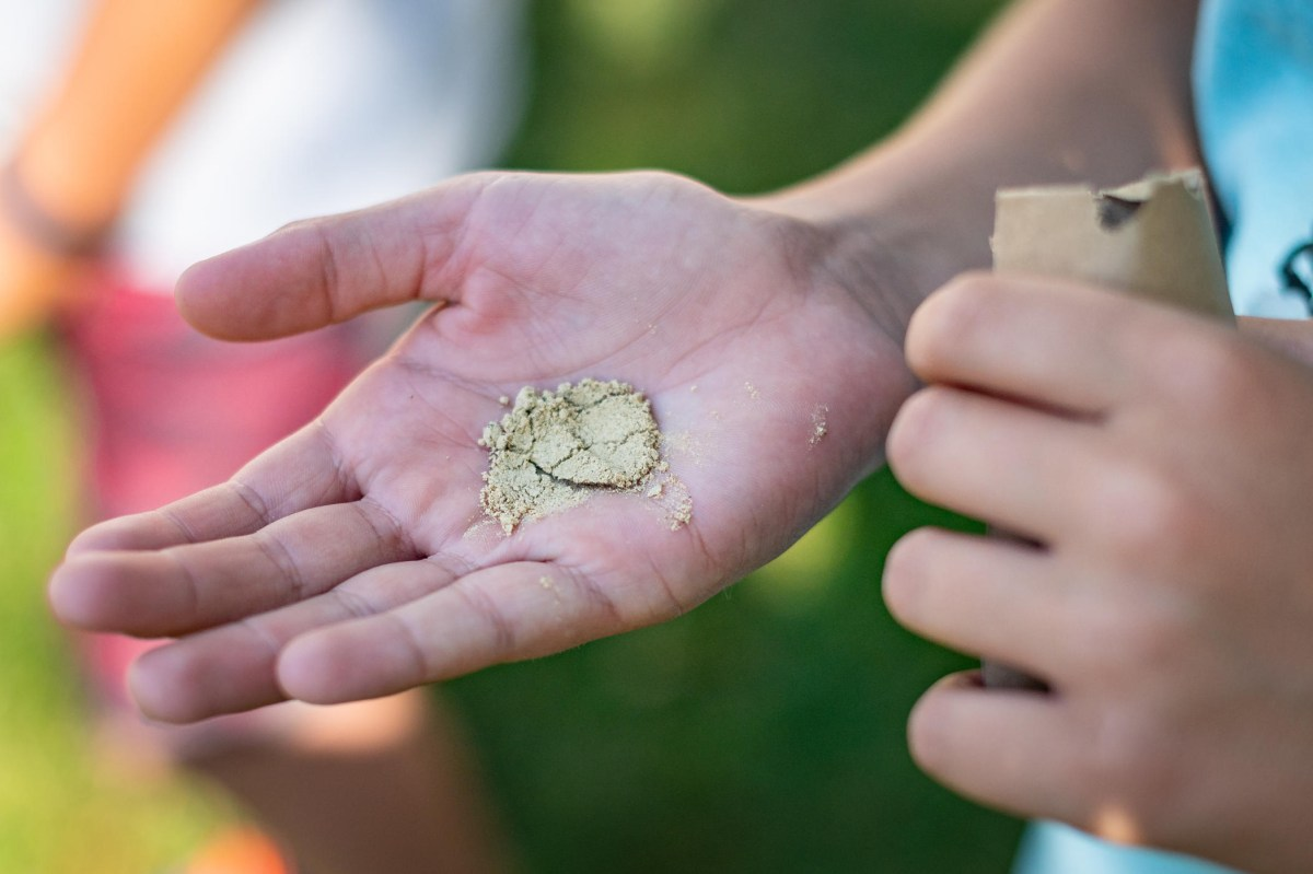 A child holds almond flour in the palm of their hand.